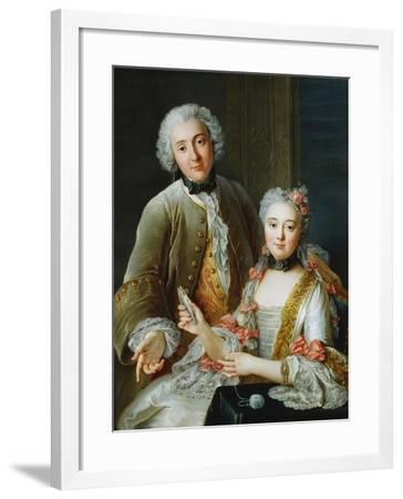 Portrait of Francois De Jullienne Standing Beside His Wife, Seated, C.1743-Antoine Coypel-Framed Giclee Print