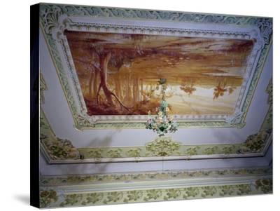 Stucco Decoration and Romagna Landscape-Giuseppe Brega-Stretched Canvas Print