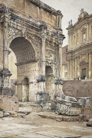 The Arch of Septimius Severus in Rome-Luigi Bazzani-Stretched Canvas Print