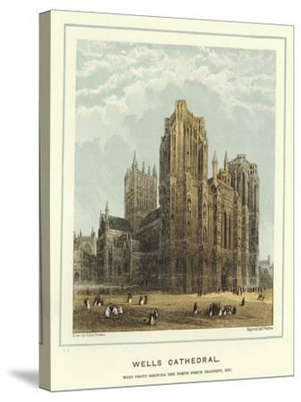 Wells Cathedral, West Front Showing the North Porch Transept, Etc-Hablot Knight Browne-Stretched Canvas Print
