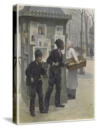 Two Young Chimney Sweeps Stealing Cakes from a Baker's Basket-Paul Charles Chocarne-moreau-Stretched Canvas Print