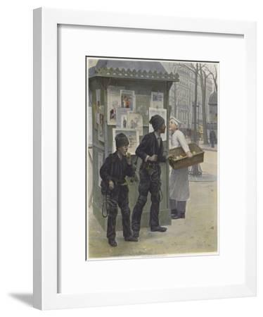 Two Young Chimney Sweeps Stealing Cakes from a Baker's Basket-Paul Charles Chocarne-moreau-Framed Giclee Print