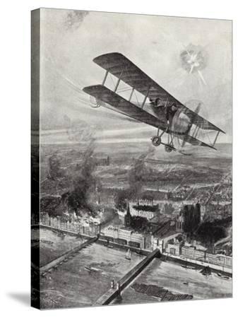 Squadron Leader Spenser Grey Flying over Cologne, 8 October 1914-W. Avis-Stretched Canvas Print