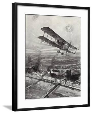 Squadron Leader Spenser Grey Flying over Cologne, 8 October 1914-W. Avis-Framed Giclee Print