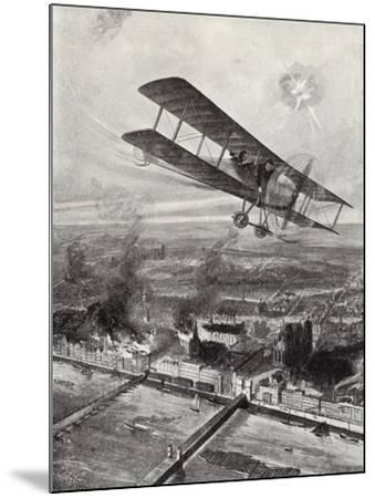 Squadron Leader Spenser Grey Flying over Cologne, 8 October 1914-W. Avis-Mounted Giclee Print