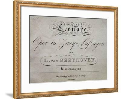 Title Page of Score for Leonore-Ludwig Van Beethoven-Framed Giclee Print