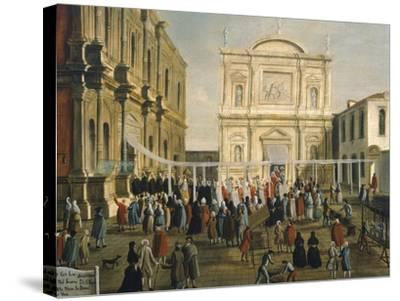 Doge and Lords in Church of San Rocco on Holy Day-Gabriel Bella-Stretched Canvas Print