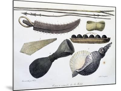 Weapons and Tools of Radak Islands, Marshall Islands-Louis Choris-Mounted Giclee Print
