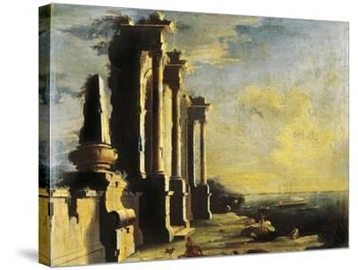 Harbor with Ruins-Leonardo Coccorante-Stretched Canvas Print