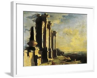 Harbor with Ruins-Leonardo Coccorante-Framed Giclee Print