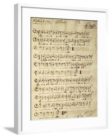 Handwritten Score for Mass for Three Voices-Tomaso Albinoni-Framed Giclee Print