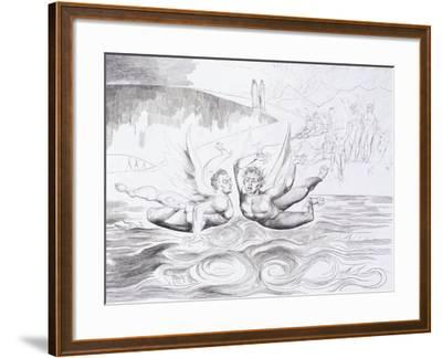 The Six-Footed Serpent Attacking Agnolo Brunelleschi, C.1824-1827-William Blake-Framed Giclee Print