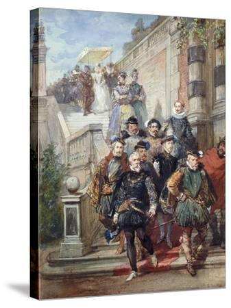 A Royal Procession Descending a Stairway in a Garden, 1869-Eugene-Louis Lami-Stretched Canvas Print