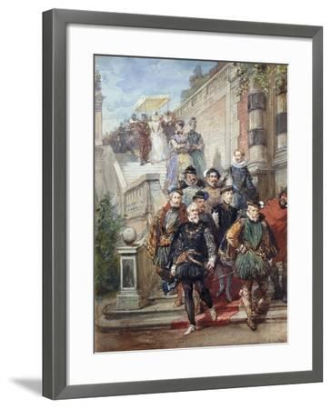A Royal Procession Descending a Stairway in a Garden, 1869-Eugene-Louis Lami-Framed Giclee Print