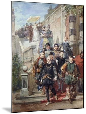 A Royal Procession Descending a Stairway in a Garden, 1869-Eugene-Louis Lami-Mounted Giclee Print