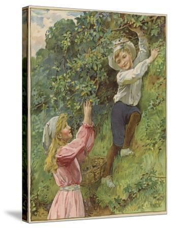 A Young Girl and a Young Boy Picking Blackberries-Eveline Lance-Stretched Canvas Print