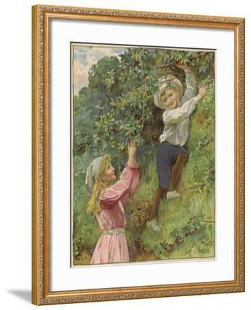 A Young Girl and a Young Boy Picking Blackberries-Eveline Lance-Framed Giclee Print