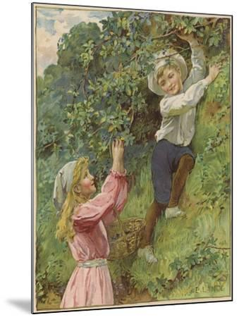 A Young Girl and a Young Boy Picking Blackberries-Eveline Lance-Mounted Giclee Print