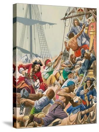 When Pirates Sailed the Seas, Blackbeard and His Pirates Attack-Peter Jackson-Stretched Canvas Print