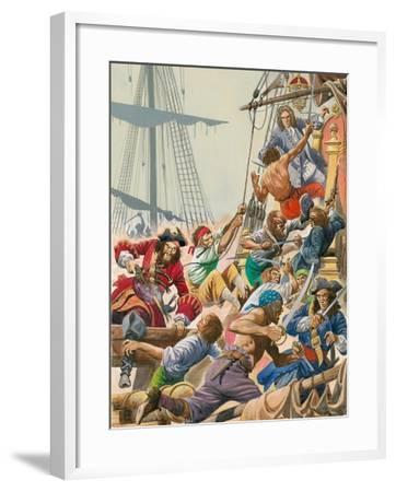 When Pirates Sailed the Seas, Blackbeard and His Pirates Attack-Peter Jackson-Framed Giclee Print