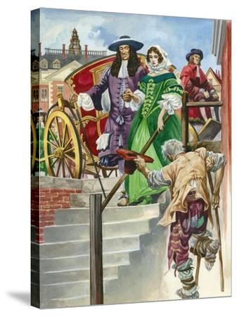 An Old Soldier Begs King Charles Ii, with the Chelsea Hospital Behind-Peter Jackson-Stretched Canvas Print
