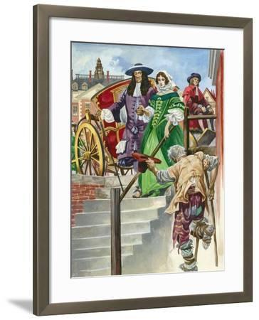 An Old Soldier Begs King Charles Ii, with the Chelsea Hospital Behind-Peter Jackson-Framed Giclee Print