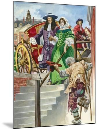 An Old Soldier Begs King Charles Ii, with the Chelsea Hospital Behind-Peter Jackson-Mounted Giclee Print
