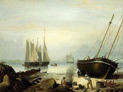Beached for Repairs, Duncan's Point, Gloucester, 1848-Fitz Henry Lane-Framed Giclee Print