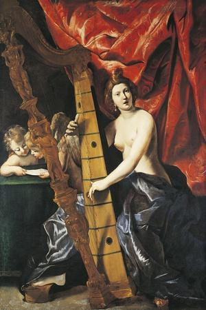 Venus Playing Harp, Allegory of Music-Giovanni Lanfranco-Stretched Canvas Print