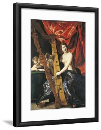 Venus Playing Harp, Allegory of Music-Giovanni Lanfranco-Framed Giclee Print