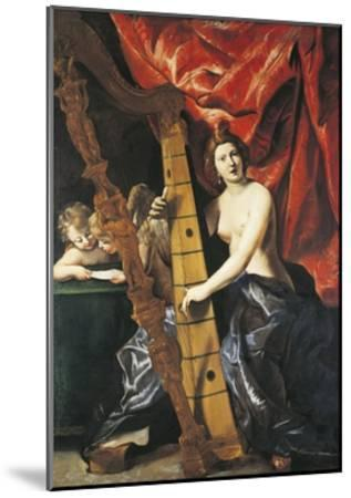 Venus Playing Harp, Allegory of Music-Giovanni Lanfranco-Mounted Giclee Print