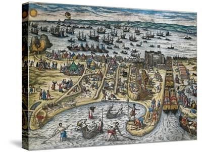 Capture of La Goulette and Tunis by Charles V, 1535-Franz Hogenberg-Stretched Canvas Print
