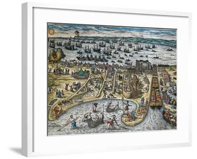 Capture of La Goulette and Tunis by Charles V, 1535-Franz Hogenberg-Framed Giclee Print