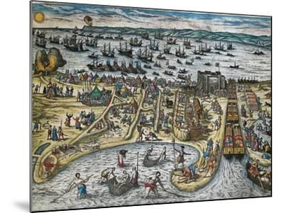 Capture of La Goulette and Tunis by Charles V, 1535-Franz Hogenberg-Mounted Giclee Print