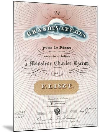 Title Page of Score for Great Studies for Piano-Franz Liszt-Mounted Giclee Print