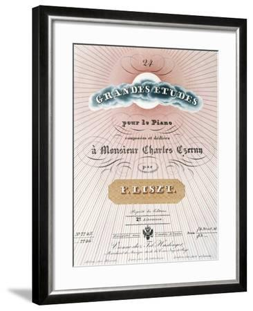 Title Page of Score for Great Studies for Piano-Franz Liszt-Framed Giclee Print