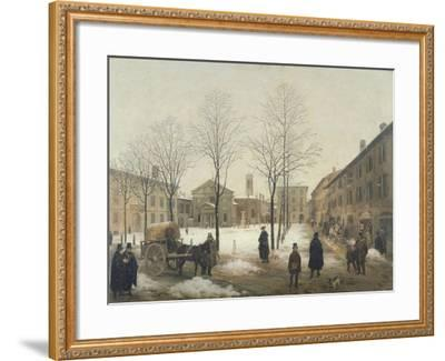 Milan, Piazza Borromeo under Snow-Angelo Inganni-Framed Giclee Print