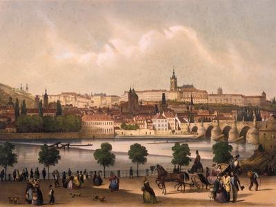 View of the Little Quarter and Prague Castle Hradcany, C.1845-Francois Joseph Sandmann-Framed Giclee Print