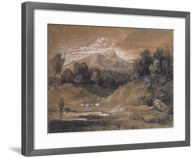 Upland Landscape with Shepherd, Sheep and Cattle, C.1783-Thomas Gainsborough-Framed Giclee Print