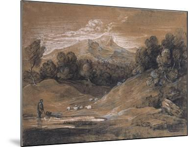 Upland Landscape with Shepherd, Sheep and Cattle, C.1783-Thomas Gainsborough-Mounted Giclee Print
