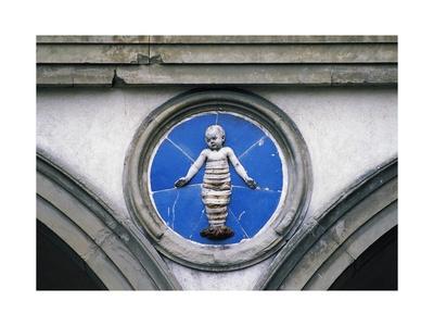 Glazed Ceramic Tondo with Putto-Andrea Della Robbia-Framed Giclee Print