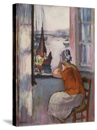 Young Girl at the Window Opposite the Island of Yeu-Henri Lebasque-Stretched Canvas Print