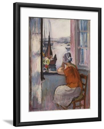 Young Girl at the Window Opposite the Island of Yeu-Henri Lebasque-Framed Giclee Print