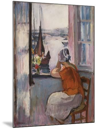 Young Girl at the Window Opposite the Island of Yeu-Henri Lebasque-Mounted Giclee Print