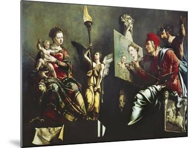 St Luke Painting Virgin and Child, 1532-Maerten van Heemskerck-Mounted Giclee Print