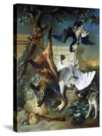 La Retour De Chasse': a Hunting Dog Guarding Dead Game-Jean-Baptiste Oudry-Stretched Canvas Print