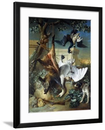 La Retour De Chasse': a Hunting Dog Guarding Dead Game-Jean-Baptiste Oudry-Framed Giclee Print