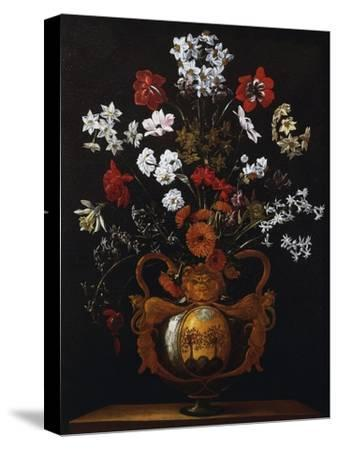 Vase of Flowers with the Coat of Arms of Cardinal Poli-Giacomo Recco-Stretched Canvas Print