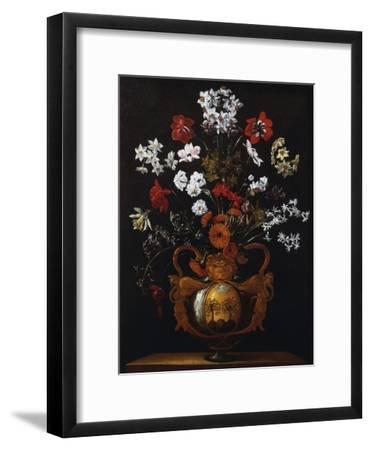 Vase of Flowers with the Coat of Arms of Cardinal Poli-Giacomo Recco-Framed Giclee Print