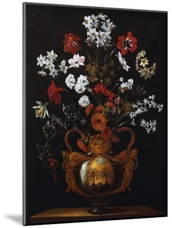 Vase of Flowers with the Coat of Arms of Cardinal Poli-Giacomo Recco-Mounted Giclee Print